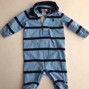 Ralph Lauren Baby Boy Cotton Rugby Stripe Coverall